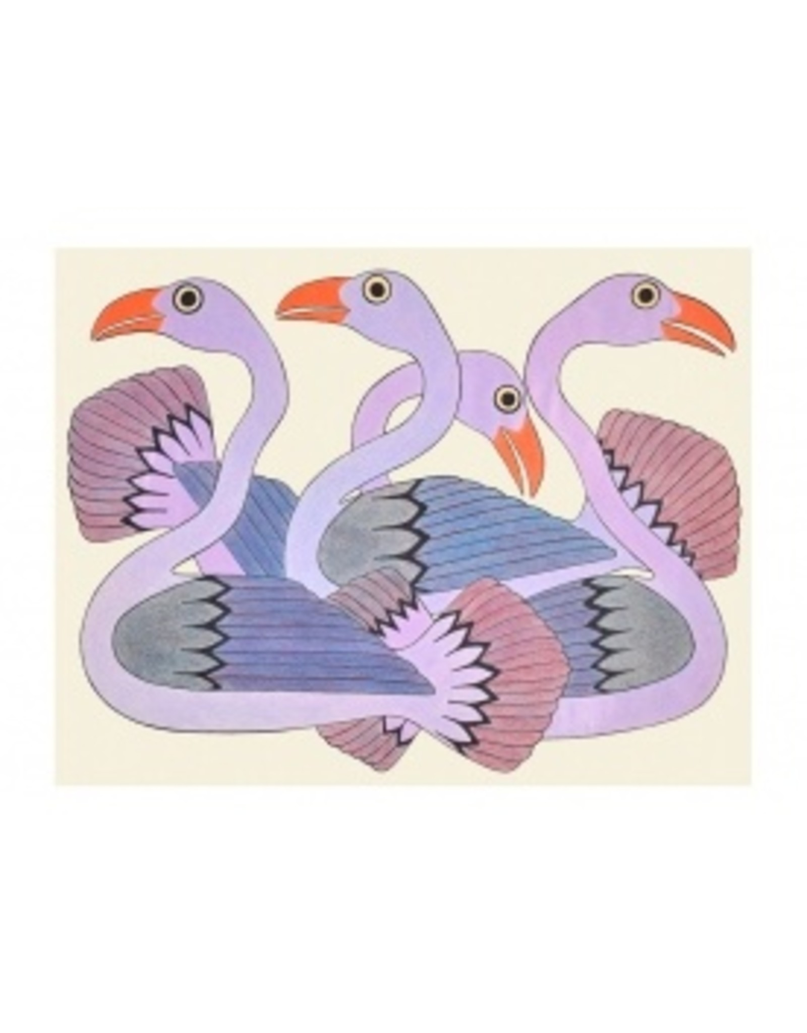 Cape Dorset Art Card: Swans at Sunset