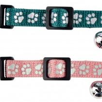 Reflecterend halsbandje met pootjes print roze