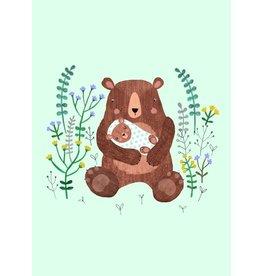 Petit Monkey Postcard Mother + Baby Bear