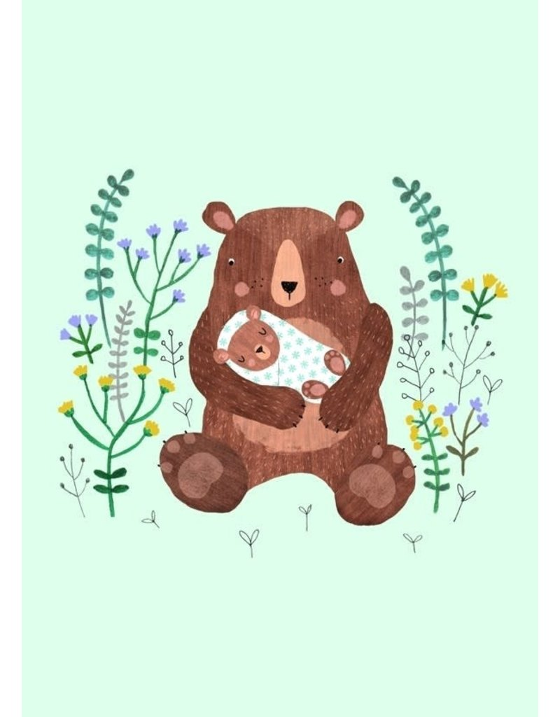 Petit Monkey Postcard Mother + Baby Bear