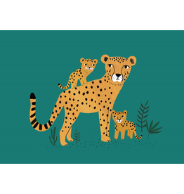 Petit Monkey Postcard Cheetah and Cubs