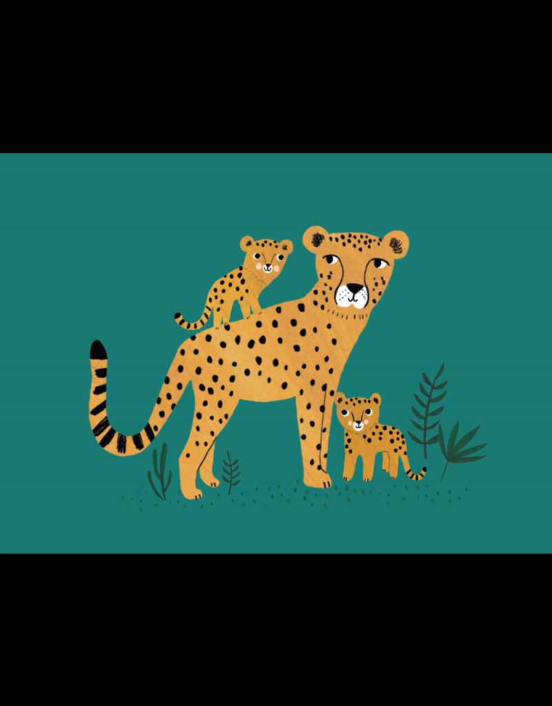 Petit Monkey Postcard Cheetah and Cubs