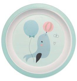 Petit Monkey Bamboo Plate Seal Blue