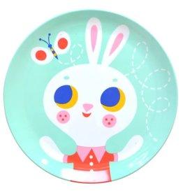 Petit Monkey Melamine Plate Rabbit Mint