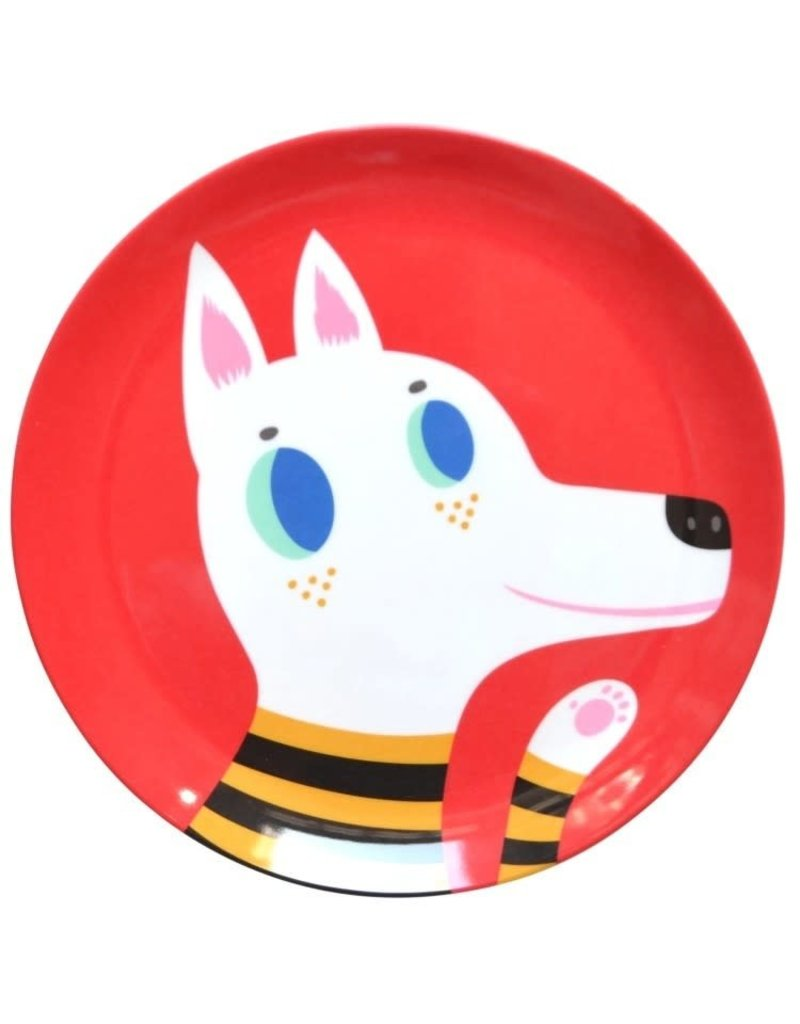 Petit Monkey Melamine Plate Wolf Red