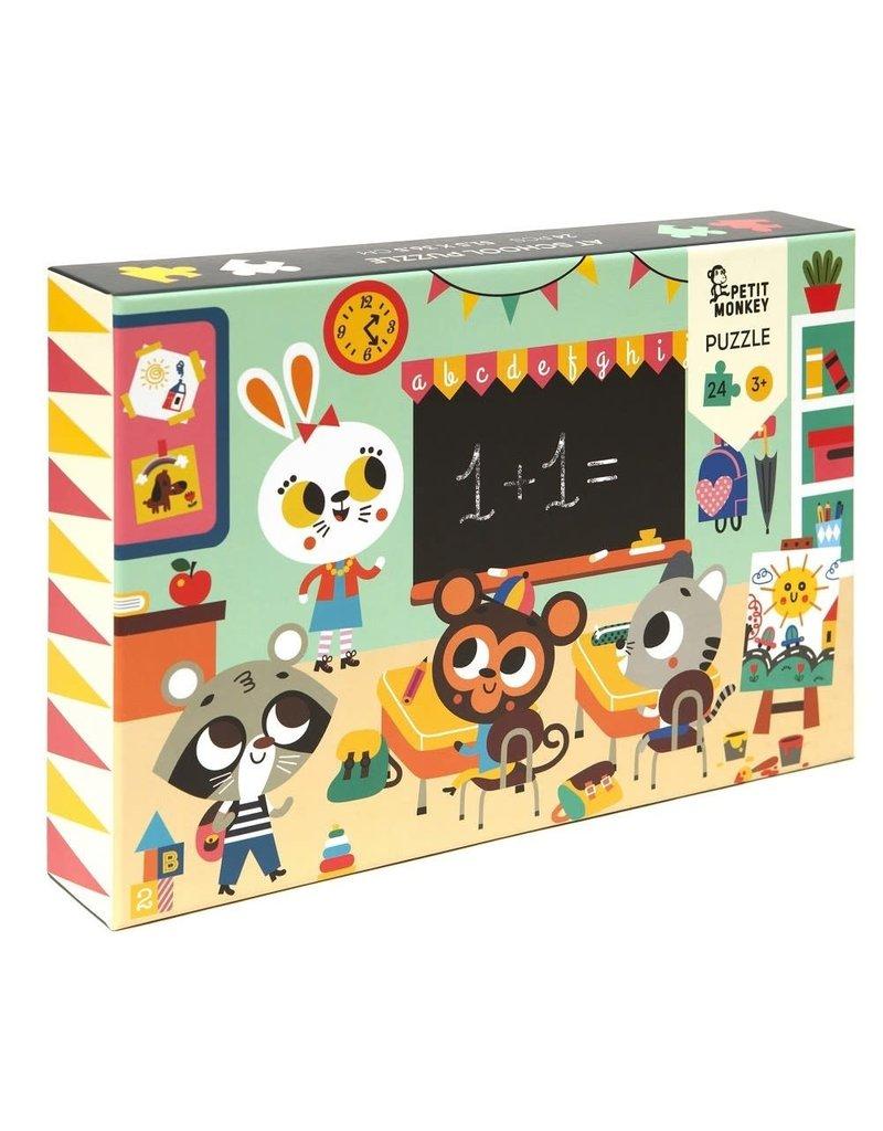 Petit Monkey At School Puzzle 24pcs 3 yrs+