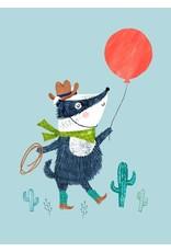 Petit Monkey Postcard Badger