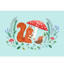 Petit Monkey Postcard Mother + Baby Squirrel