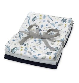 CamCam Copenhagen Muslin Towel Pressed Leaves Blue 3 pieces