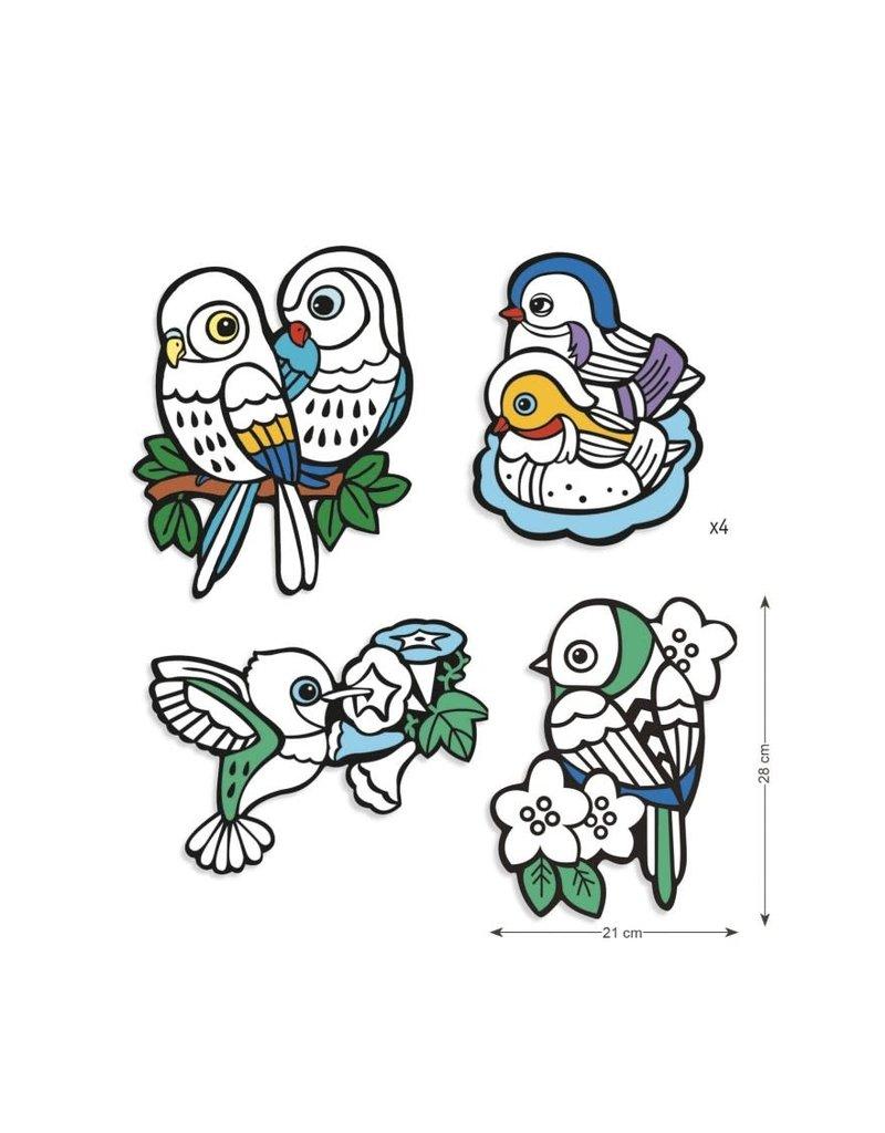 Djeco Velvet Vogels Kleuren
