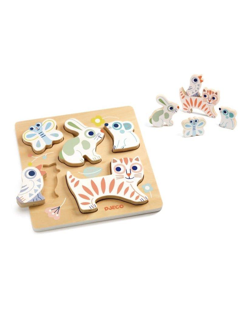 Djeco Houten puzzel dieren BabyAnimali