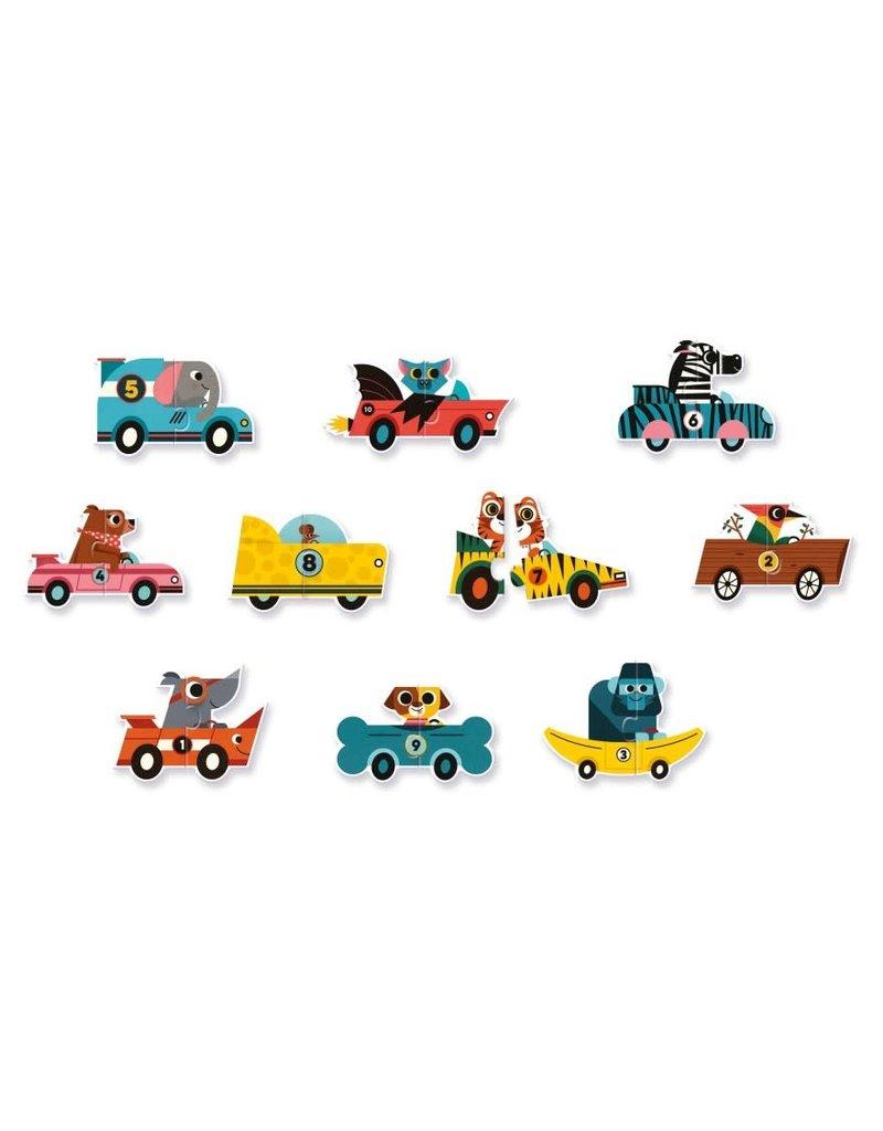 Djeco Puzzel Duo Racewagens 10 keer 2 stukjes