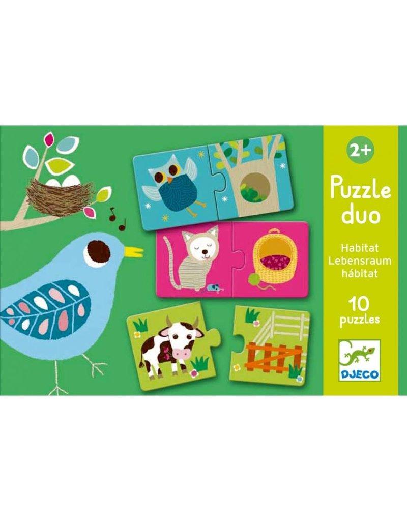 Djeco Puzzel Duo Habitat 10 keer 2 stukjes