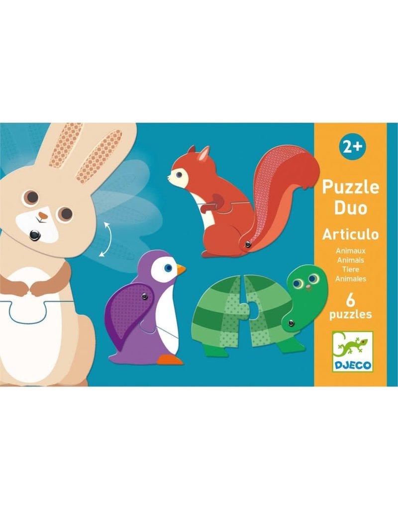 Djeco Puzzel Duo Dieren 6 keer 2 stukjes