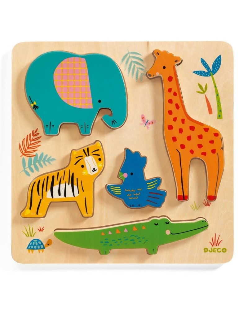 Djeco Houten Puzzel Jungledieren - Woodyjungle