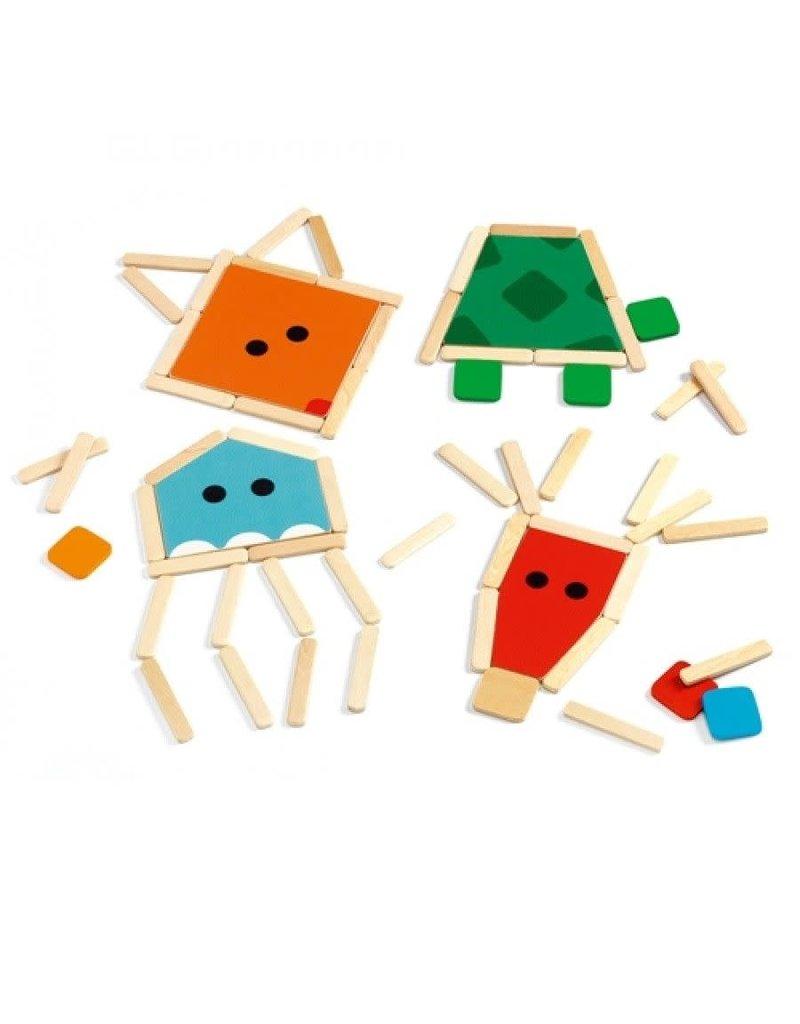 Djeco Stick Basic - Puzzelsticks dieren