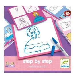 Djeco Tekenkaarten step by step prinsessen