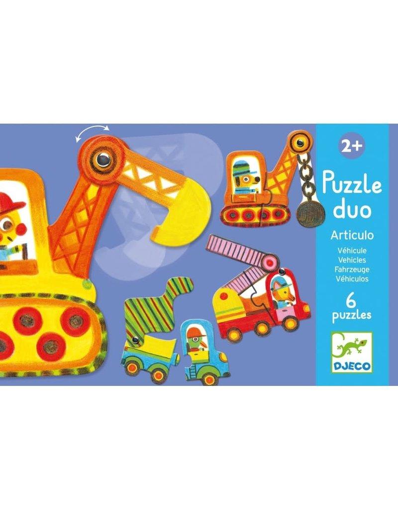 Djeco Puzzel Duo Voertuigen 6 keer 2 stukjes