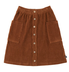 CarlijnQ Basics - midi skirt with buttons and pockets (brown)