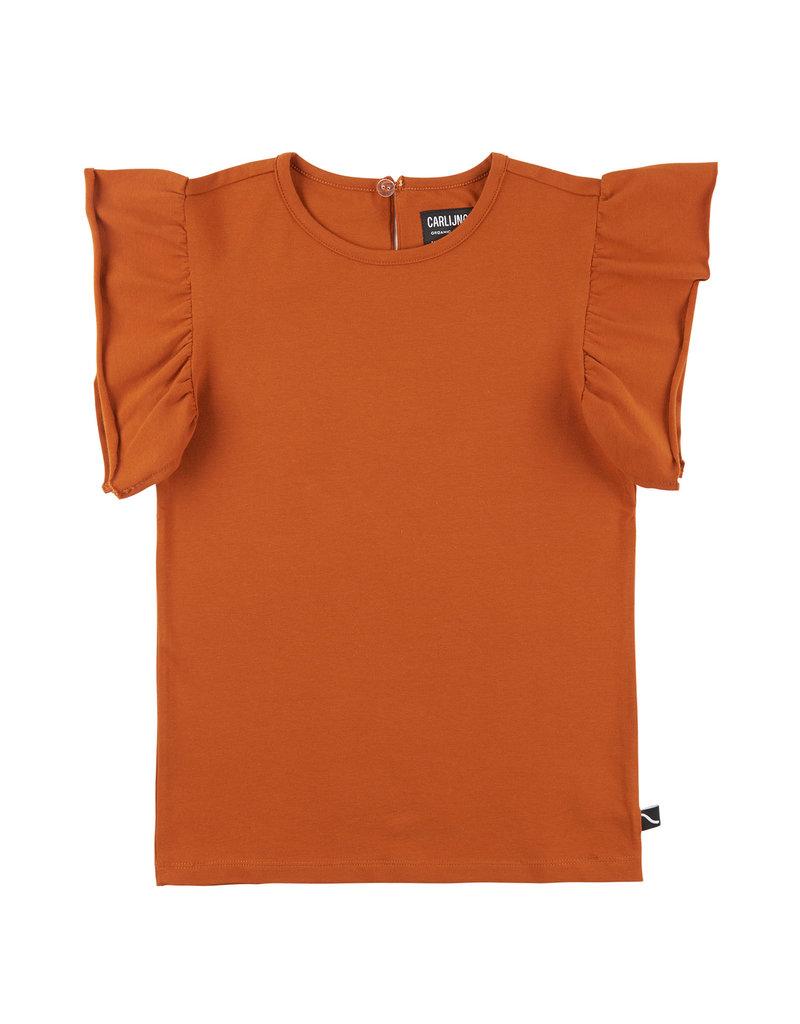 CarlijnQ Basics - ruffled short sleeve top