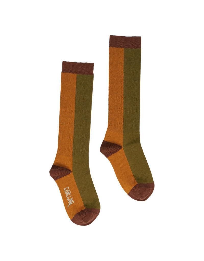 CarlijnQ Knee socks - pumpkin/green