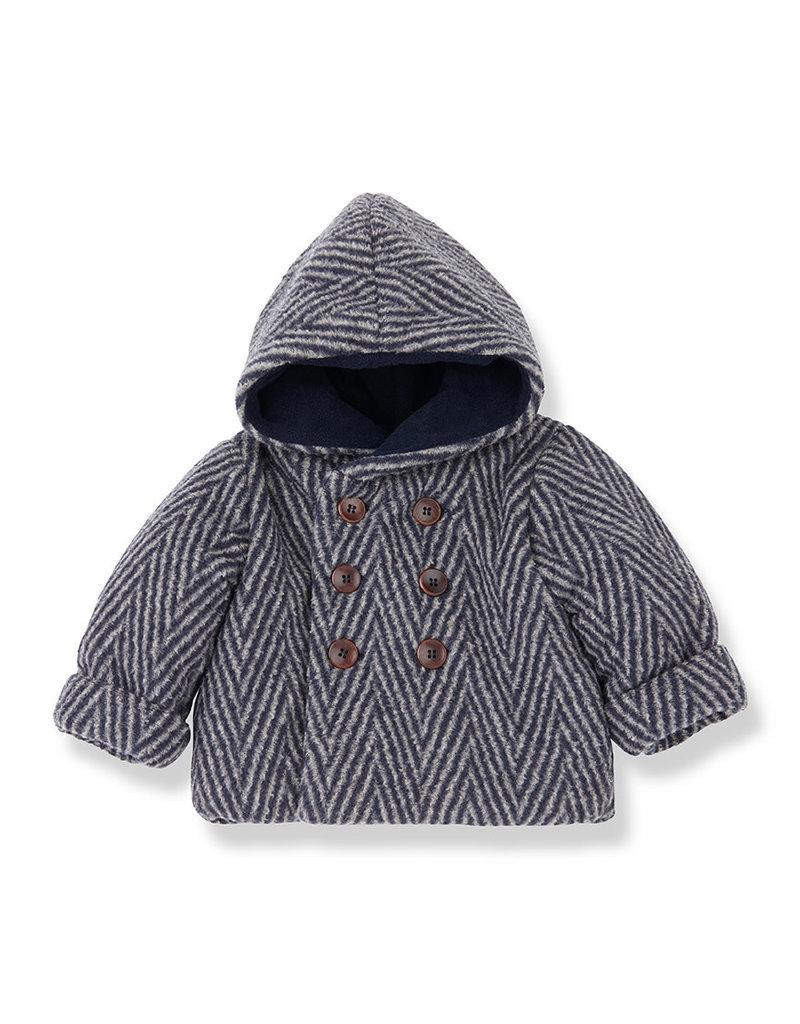 1+ in the family Pollino hood jacket beige / blue notte