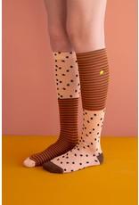 Sticky Lemon Knee Socks Sprinkles Apricot Orange