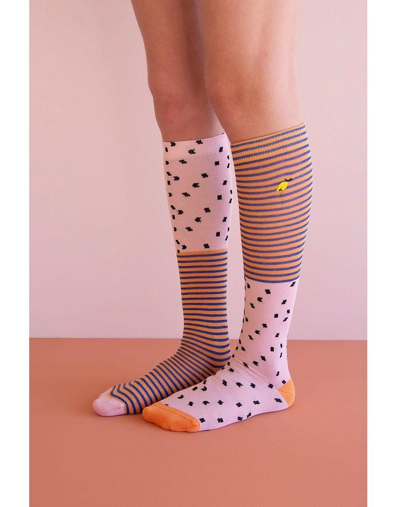 Sticky Lemon Knee Socks Sprinkles Lemonade Pink