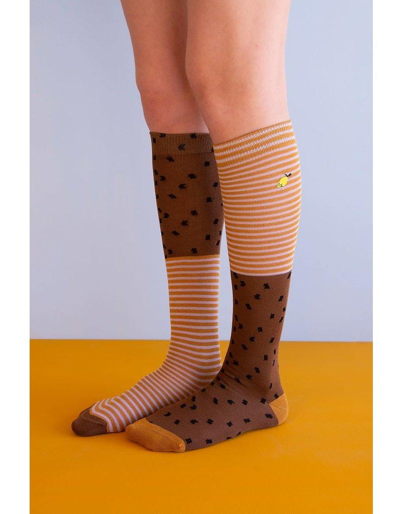 Sticky Lemon Knee Socks Sprinkles Cinnamon Brown