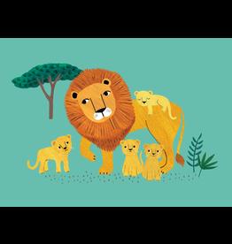 Petit Monkey Postcard Lion and cubs
