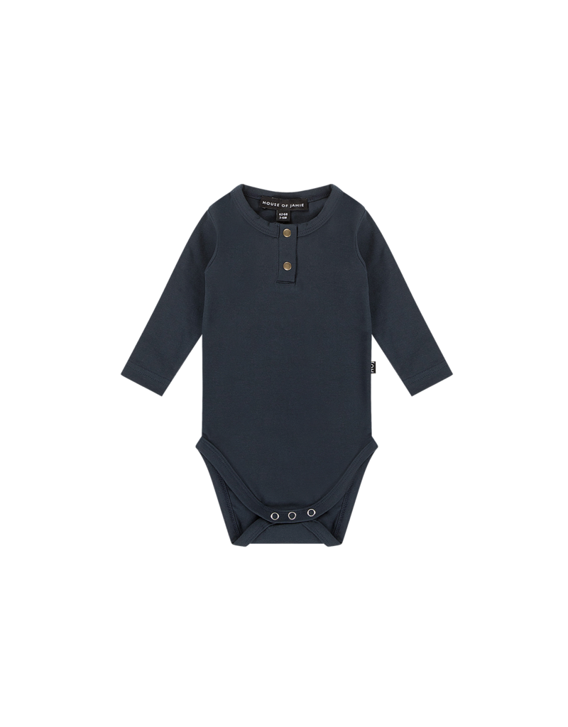 House of Jamie Button Bodysuit Dark Blue