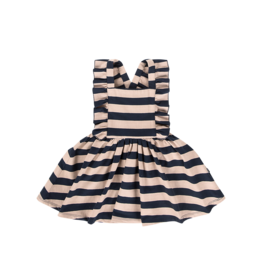 House of Jamie Salopette Dress Biscuit & Blue Stripes