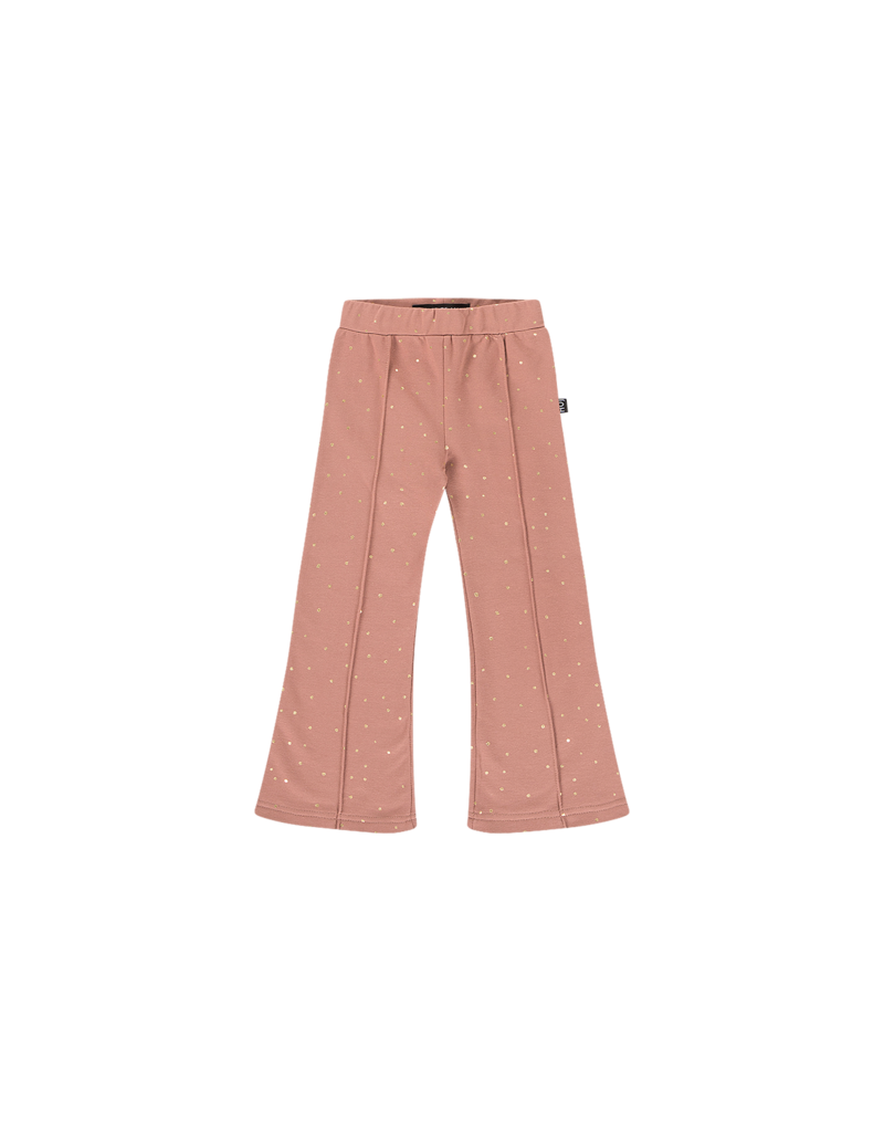 House of Jamie Flared Pants Dusty Mauve Golden Dots