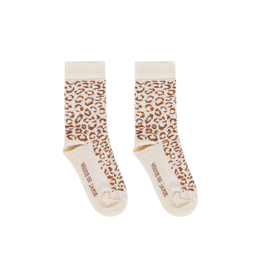 House of Jamie Ankle Socks Cream & Toffee Leopard