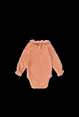 House of Jamie Frill Collar Bodysuit Terra Blush Velvet