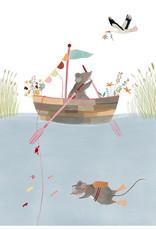 Getekenddoorzusje Fishermice kaart A5