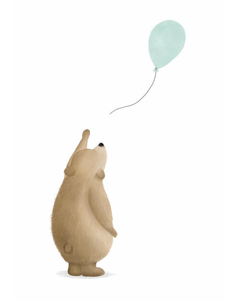 Getekenddoorzusje Beertje met ballon mint A6