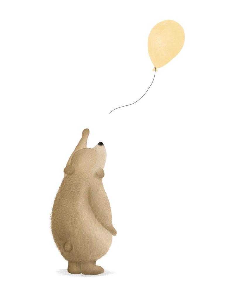 Getekenddoorzusje Beertje met ballon geel A6