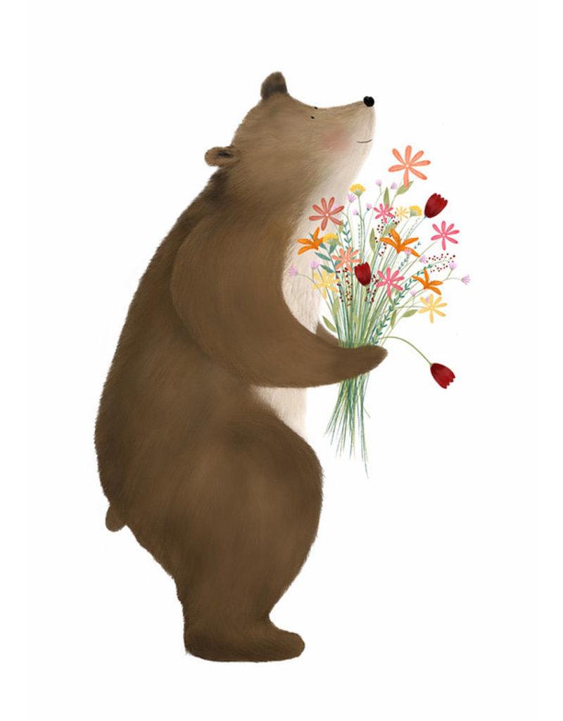 Getekenddoorzusje Beer met bloemen