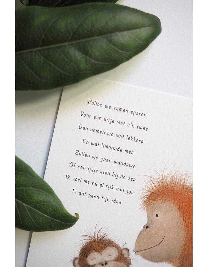 Getekenddoorzusje Apen eten ijs met gedicht A6