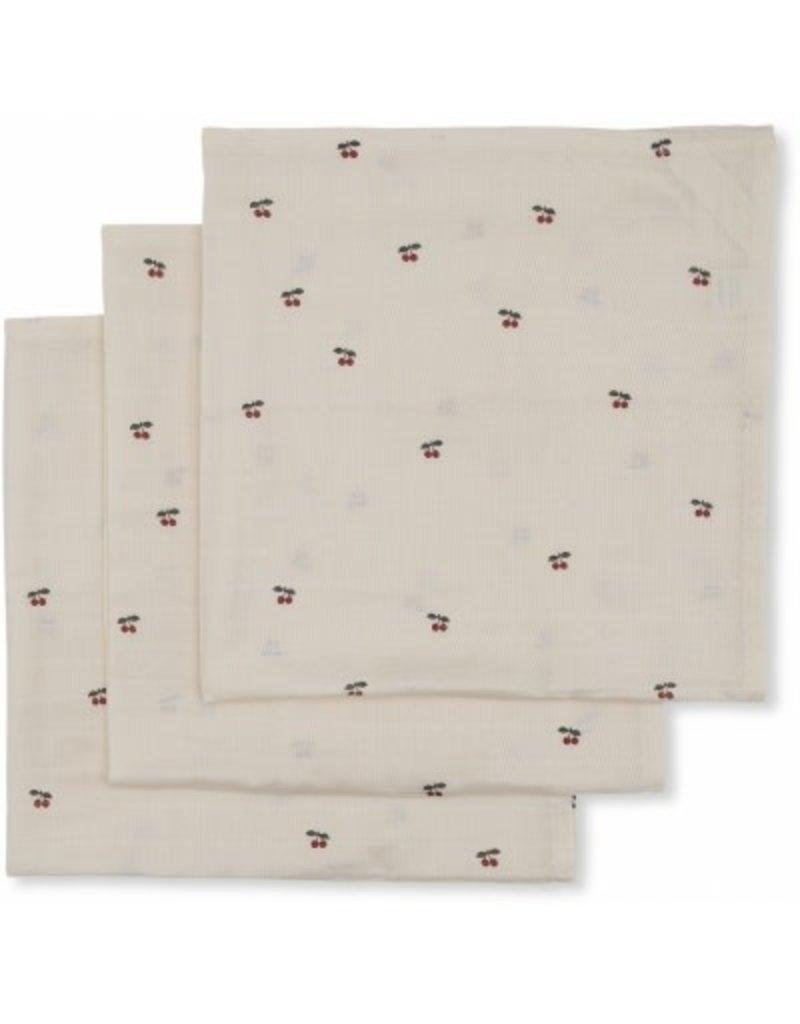 Konges Sløjd 3 Pack Muslin Cloth Cherry