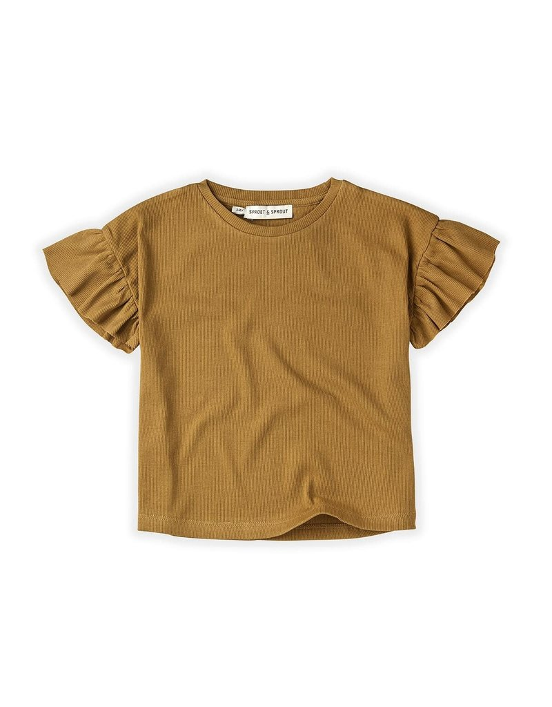 Sproet & Sprout T-Shirt Rib Ruffle Camel
