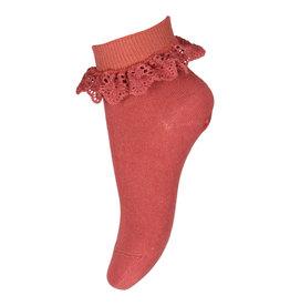 mp Denmark Socks Filippa With Lace Marsala 4270