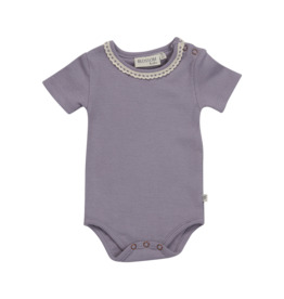 Blossom Kids Body short sleeve with lace - soft rib - Lavender Gray