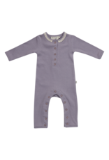 Blossom Kids Playsuit - soft rib - Lavender Gray with lace