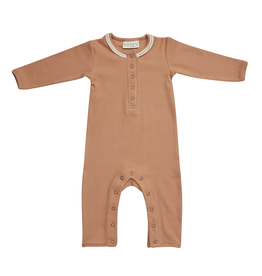 Blossom Kids Playsuit with lace - soft rib - Deep Toffee