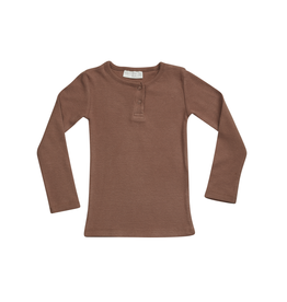 Blossom Kids Henley long sleeve shirt - soft rib - Smoked Hazelnut