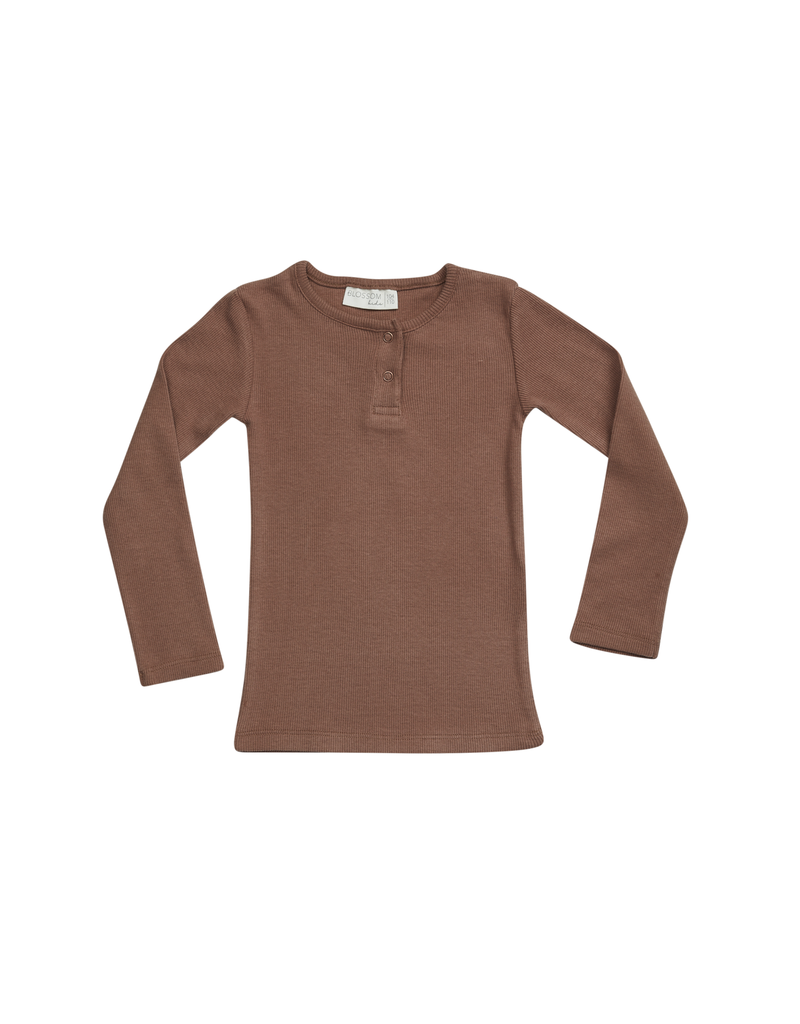 Blossom Kids Henley long sleeve shirt - soft rib - Smoked Hazelnut