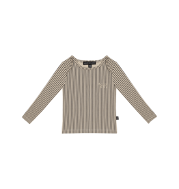 House of Jamie Long Sleeve Tee Charcoal Sheer Stripes