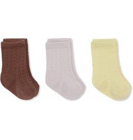 Konges Sløjd 3 Pack Socks Lemon Sorbet/Lavendar Mist/Fig Brown